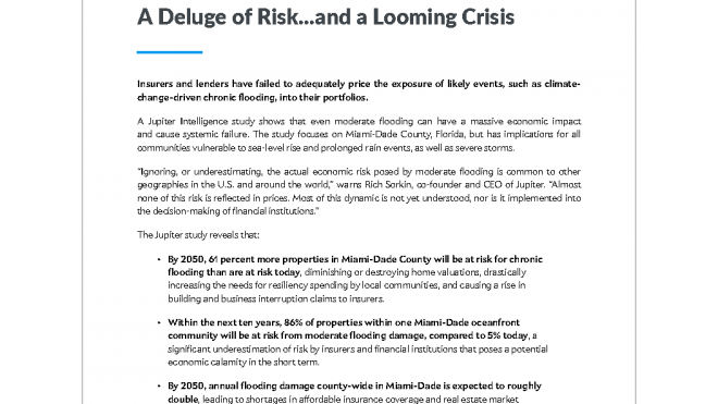 A Deluge of Risk...and a LoomingCrisis