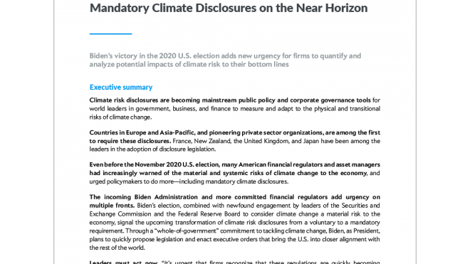 Mandatory Climate Disclosures on the Near Horizon