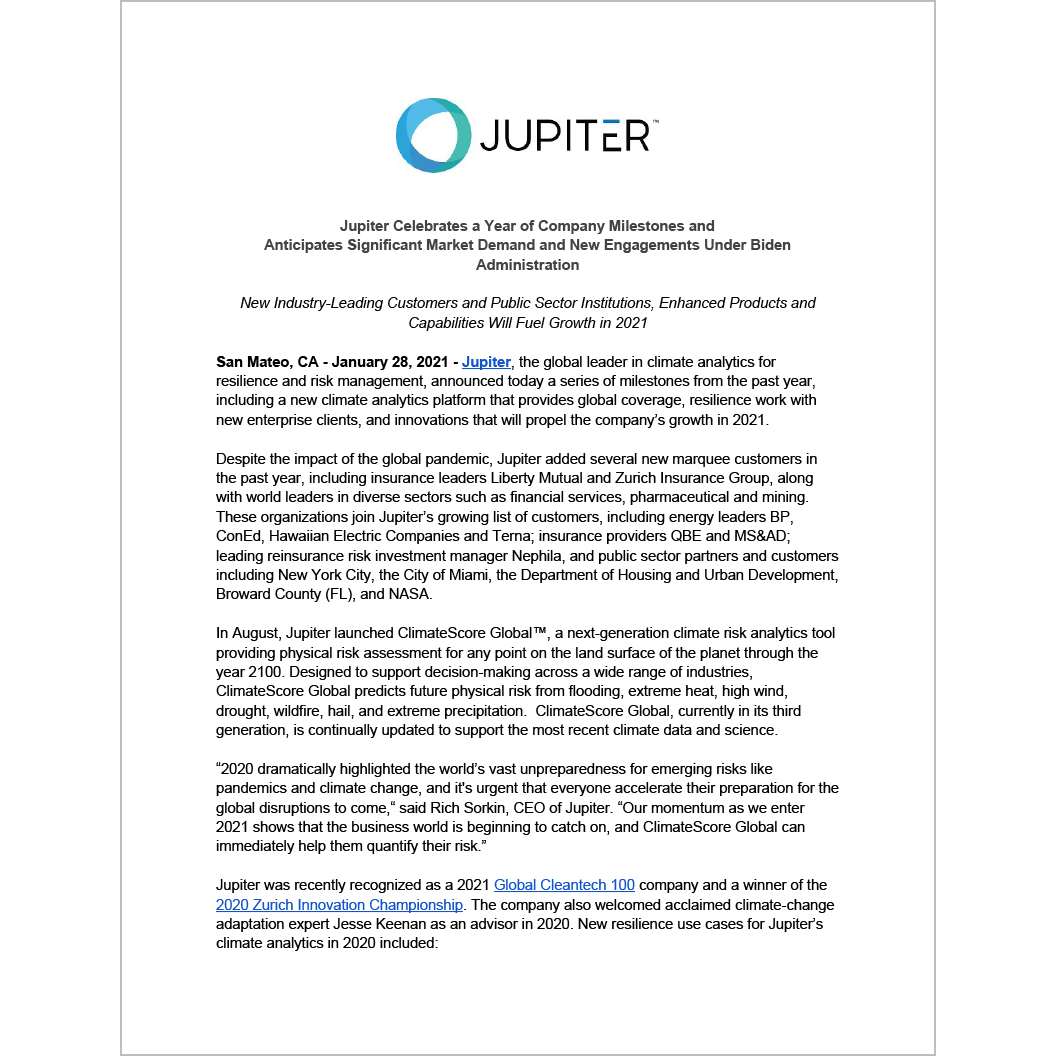 Jupiter Celebrates a Year of Company Milestones and Anticipates Significant Market Demand and New Engagements Under Biden Administration