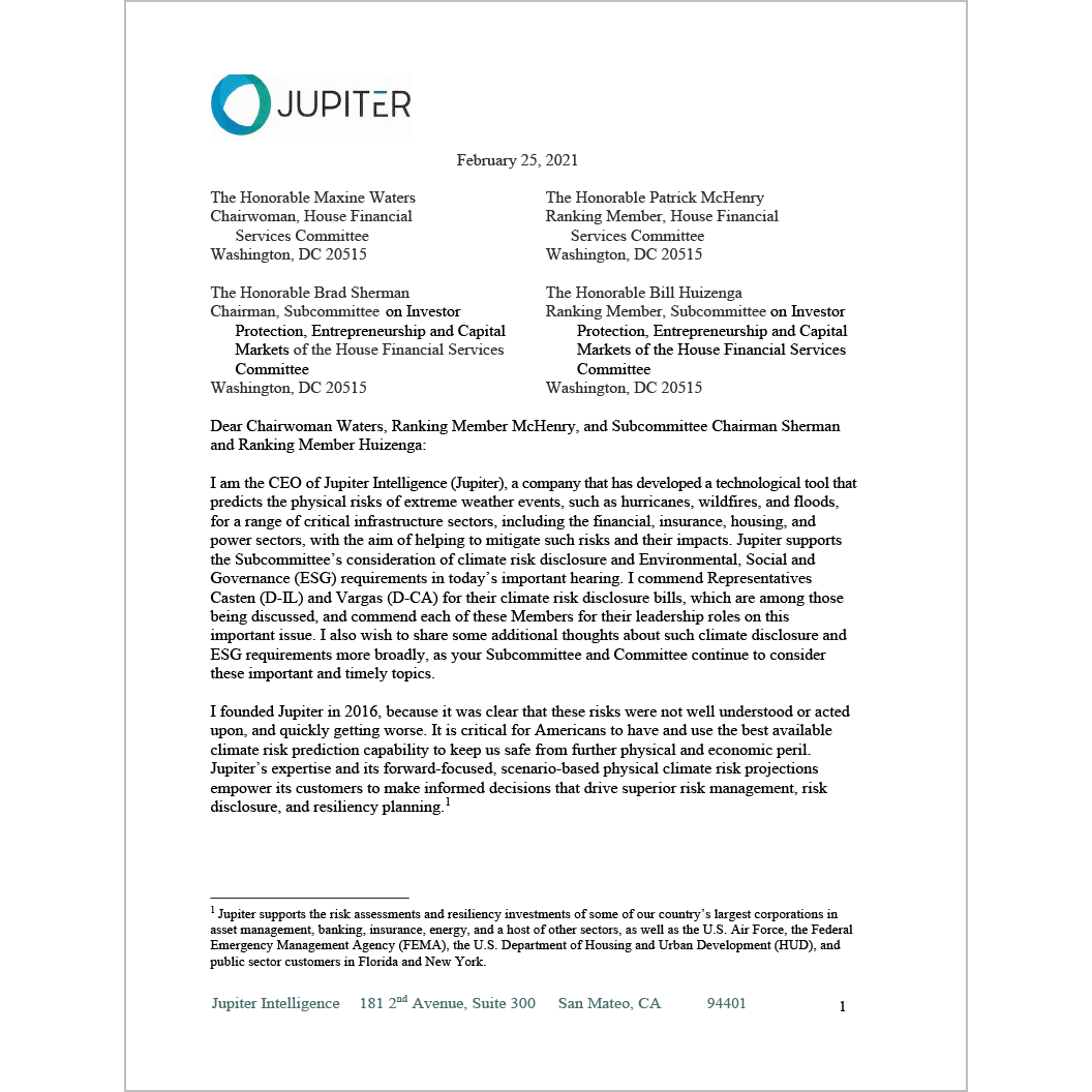 A letter from Jupiter CEO Rich Sorkin to the US House Financial Services Committee