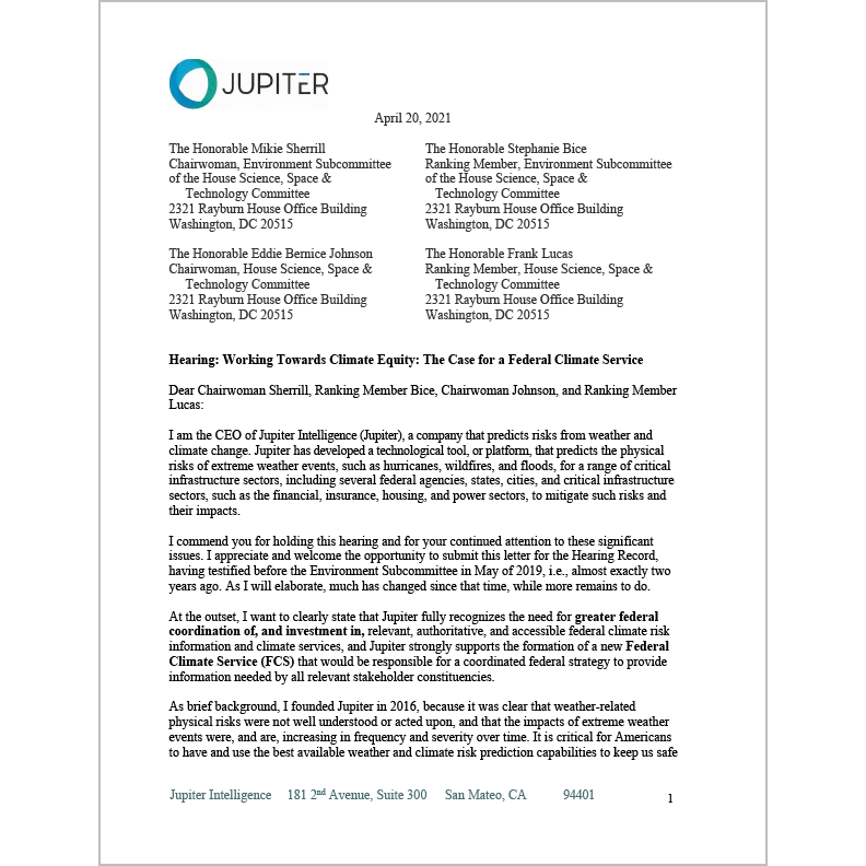 A letter from Jupiter CEO Rich Sorkin to the Environment Subcommittee of the US House Science, Space, & Technology Committee